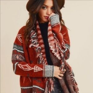 Rust Red Tribal Print Fringe Cardigan fall winter